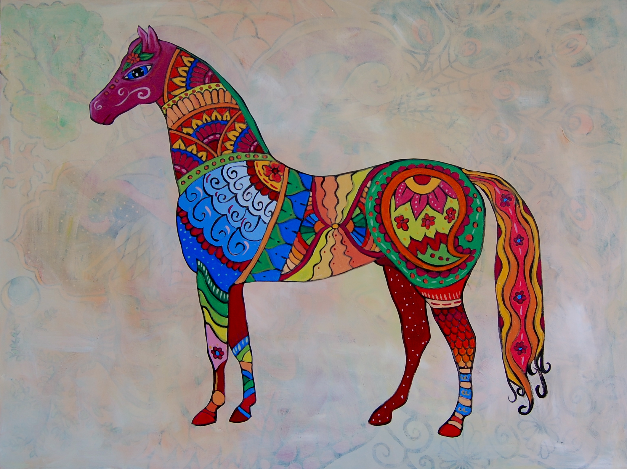 East Indian Patterns http://jenniferkellerart.com/2012/02/28/psychedelic-animals-for-next-months-show/